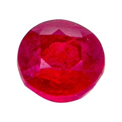 1.12 Carat GIA Certified Pigeon's Blood Red Unheated Round-Cut Burmese Ruby