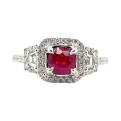 1.12 Carat GIA Certified Unheated Vivid Red Burmese Ruby and Diamond Gold Ring