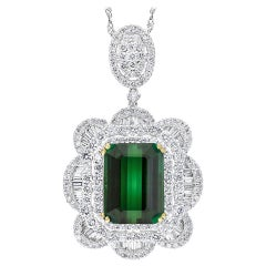 11.2 Carat Green Tourmaline & 4.5 Carat Diamond Pendant / Necklace 18 Karat Gold