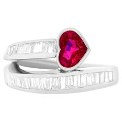 1.12 Carat Heart Shaped Ruby and Diamond Ring