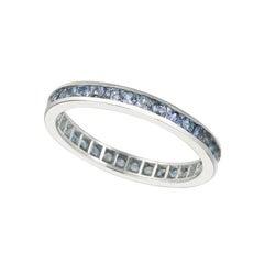 1.12 Carat Natural Tanzanite Eternity Ring Band 14K White Gold