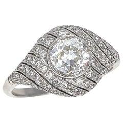 1.12 Carat Old European Cut Diamond Platinum Dome Engagement Ring