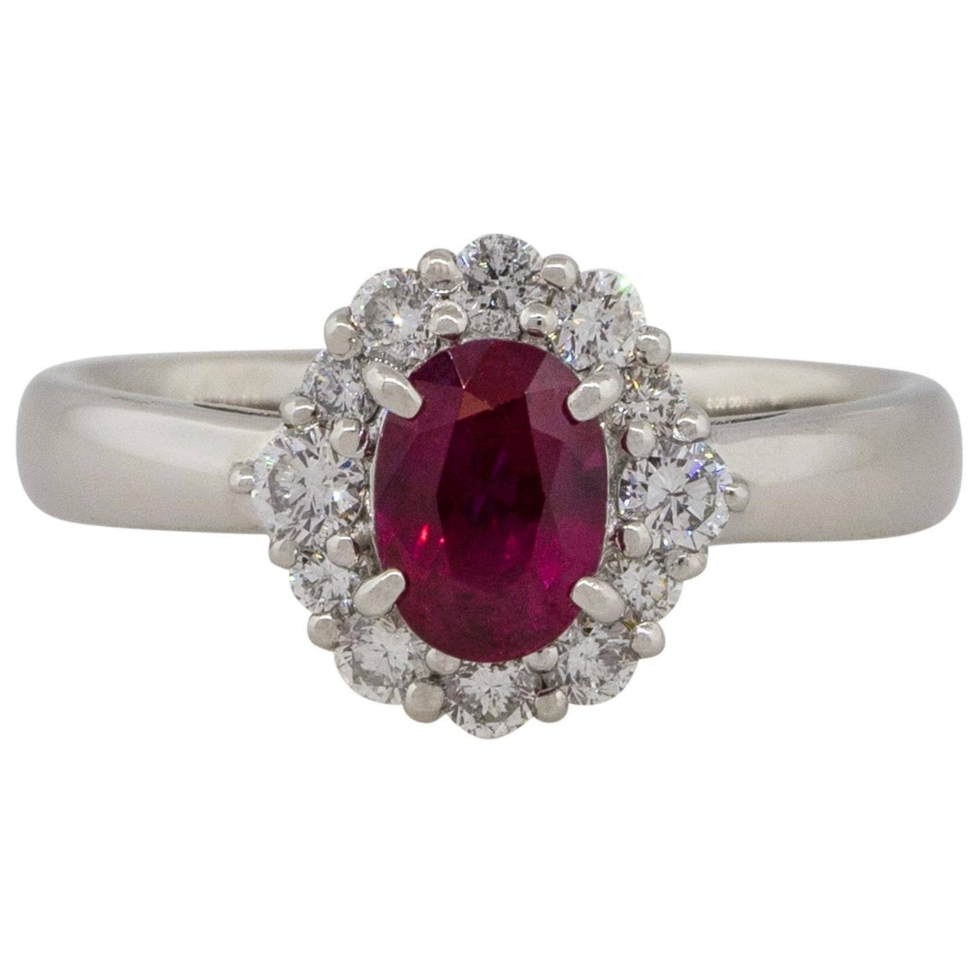 1.12 Carat Oval Ruby Center Diamond Halo Ring Platinum in Stock