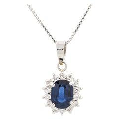 1.12 Carat Oval Sapphire Diamond Pendant Necklace Platinum in Stock