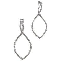 1.12 Carat Swirl Hoop Earrings in 18 Karat White Gold