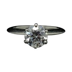 1.12 Carat Tiffany & Co Platinum Round Brilliant Cut Diamond Engagement Ring