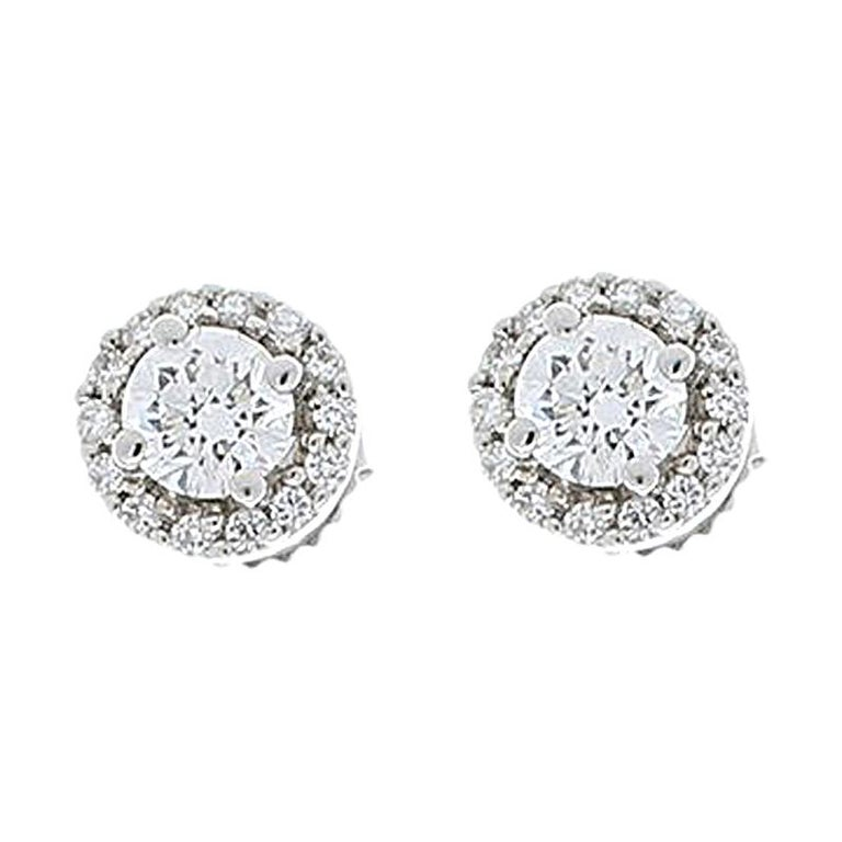1.12 Carat Total Diamond Stud Earrings For Sale