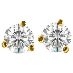 1.12 Carat VVS Diamond Stud Earrings Martini Style in 14 Karat Yellow Gold