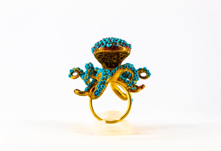 1.12 Carat White Diamond Garnet Turquoise Yellow Gold