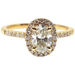 1.12 Carat Yellow Gold White Diamond Engagement Ring