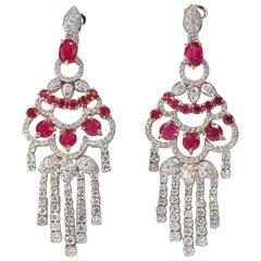 11.20 Carat Natural Red Ruby Diamond Dangling Chandelier Earrings Omega 18 Karat