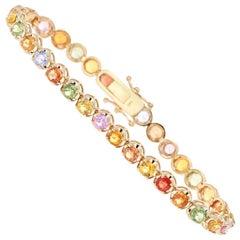 11.20 Carat Natural Sapphire 14 Karat Yellow Gold Bracelet