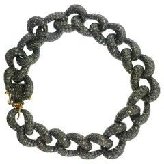 11.20 Carat Pave Diamond Link Bracelet Oxidized Sterling Silver, 14 Karat Gold