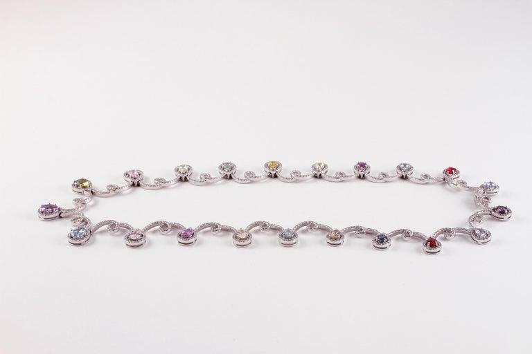 11.12 Carat Sapphire 4.90 Carat Diamond White Gold Necklace In Good Condition For Sale In Dallas, TX