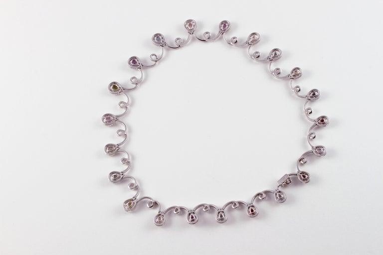 Women's 11.12 Carat Sapphire 4.90 Carat Diamond White Gold Necklace For Sale