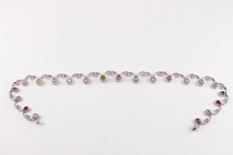 11.12 Carat Sapphire 4.90 Carat Diamond White Gold Necklace For Sale 1
