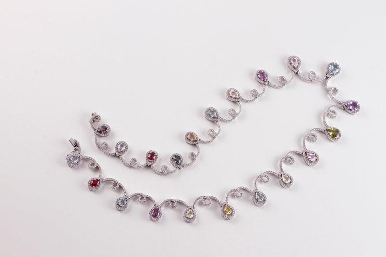 11.12 Carat Sapphire 4.90 Carat Diamond White Gold Necklace For Sale 2