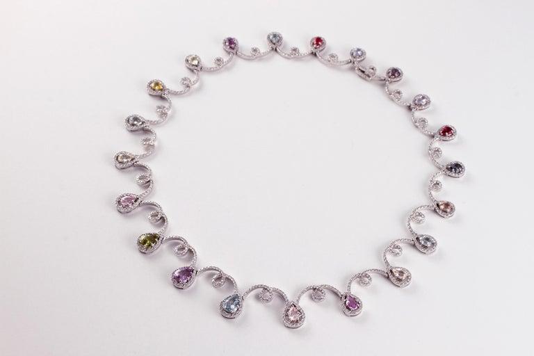 11.12 Carat Sapphire 4.90 Carat Diamond White Gold Necklace For Sale 3