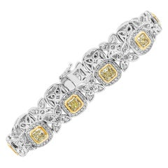 Roman Malakov 11.20 Carat Yellow and White Diamond Halo Bracelet