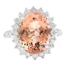 11.20 Carats Natural Morganite and Diamond 14k Solid White Gold Ring