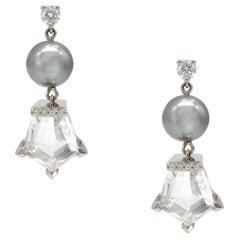 11.20 Carat Total Tahitian Pearl Rock Crystal Diamond Earrings