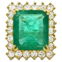11.20ct Natural Emerald & Diamond 18k Solid Yellow Gold Ring