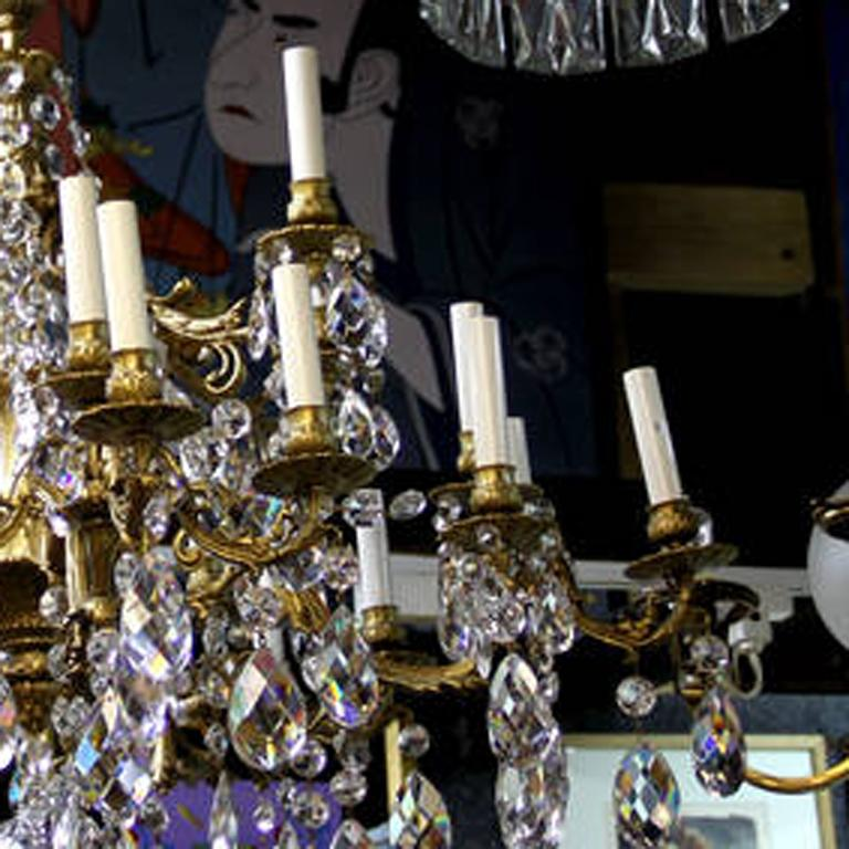 French Crystal Bronze Chandelier ca. 1910 For Sale 1
