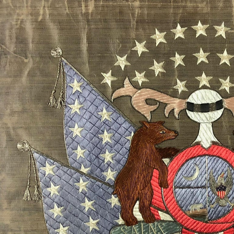 19th Century American/Missouri State Silk Embroidered Flag For Sale 2
