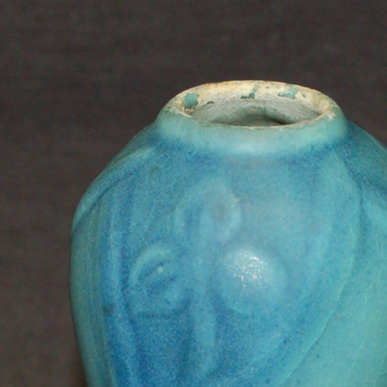 Blue/Green Flower Vase - Art Nouveau Art by Van Briggle
