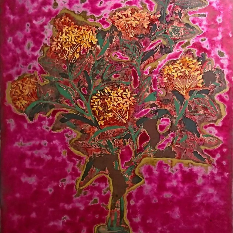 Peony Flower - Traditional lacquer on wood by Cuong Tran Nguyen, Vietnam For Sale 1