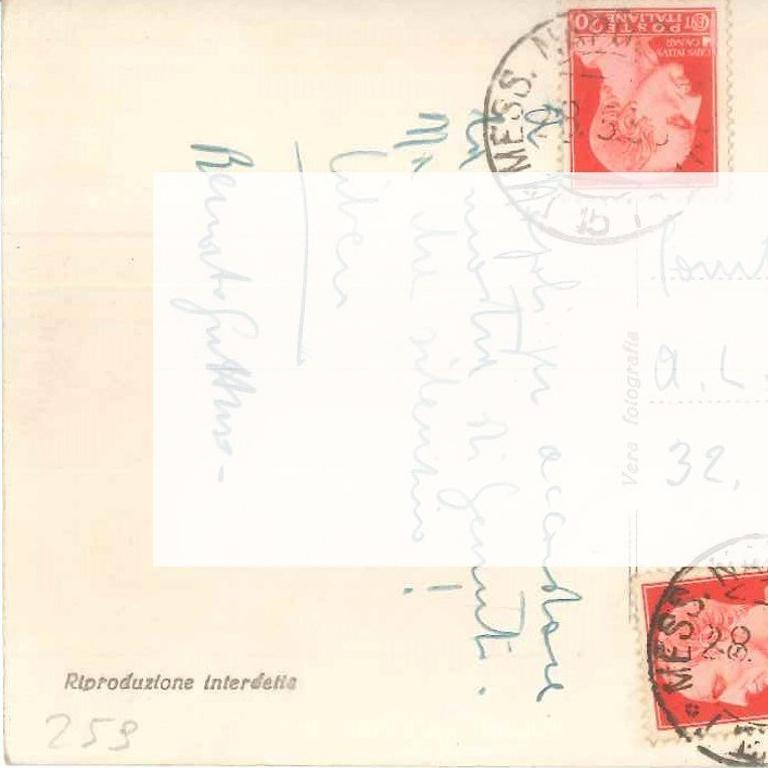 Autograph postcard written by Renato Guttuso to the Countess Anna Laetitia Pecci-Blunt. On the front, there is a black and white reproduction of a Neapolitan breathtaking landscape. On the back, there are three stamps, three postmarks, a brief