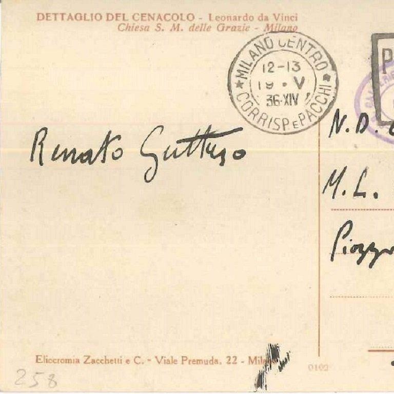 Autograph postcard signed by Renato Guttuso to the Countess Pecci-Blunt. On the front, there is a reproduction of a detail of the Leonardo's