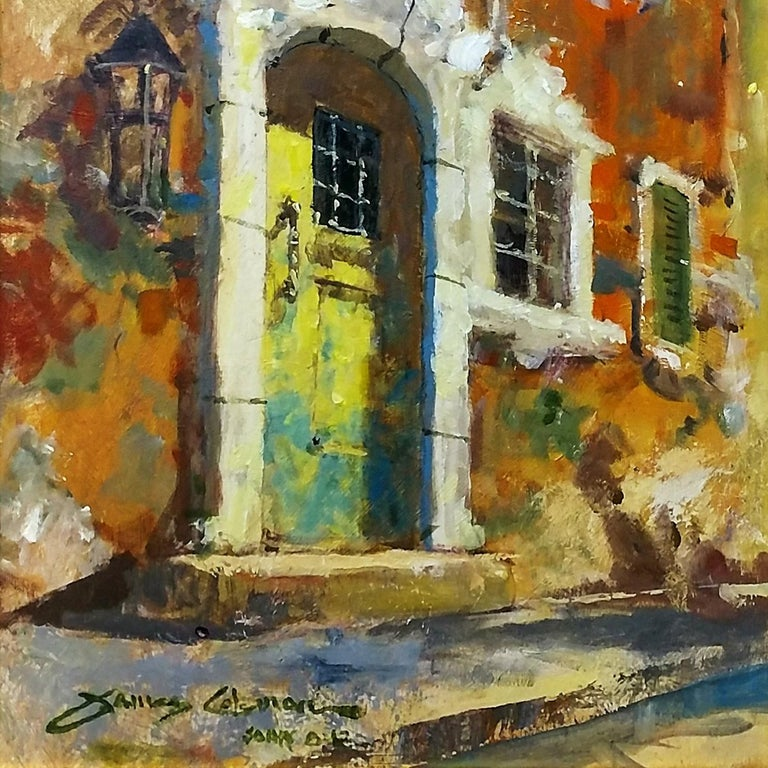 THE WEATHERED DOOR - Brown Landscape Painting by James Coleman