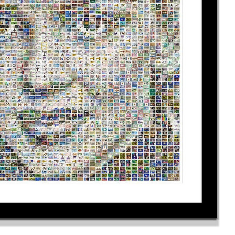 This piece of art is made of 3003 stamps.  In Stamp Mosaics different narrative strands are linked. The individual postage stamps represent important historical events as well as portraits of prominent persons or depictions from various fields such
