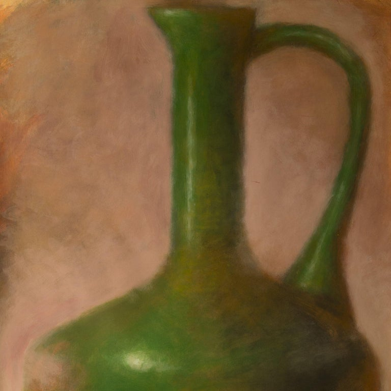 Green Amphora on Pink, Mixed Media on Watercolor Paper - Contemporary Mixed Media Art by Zev Robinson