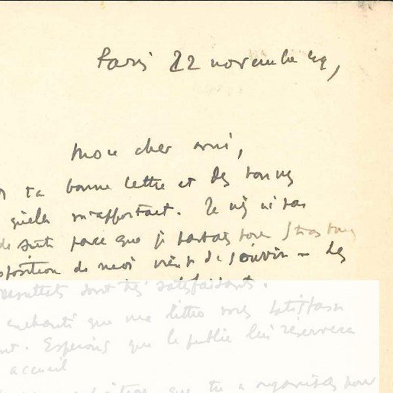 Original Signed Letter by André Masson - 1940s - Surrealism For Sale 1