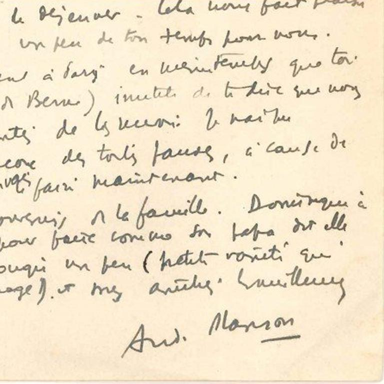 Original Signed Letter by André Masson - 1940s - Surrealism For Sale 2