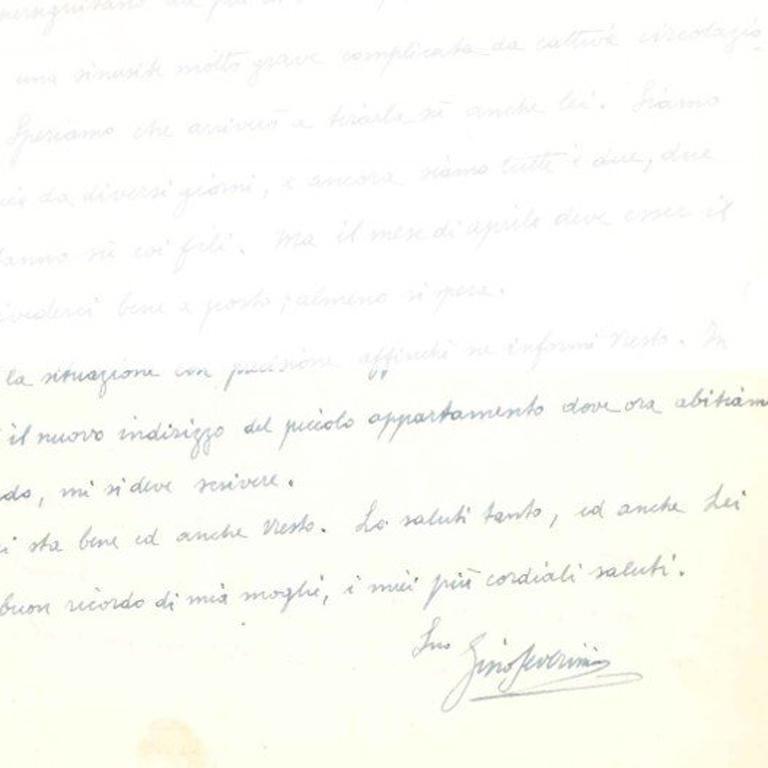 Autograph Letter to Veno Pilon  - 1950s - Gino Severini - Futurist For Sale 1