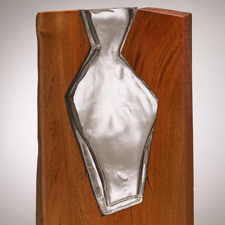 Hand Blown Clear Glass with Live Edge Wood