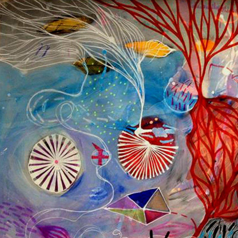 Kites Over Big Water,  mixed media acrylic, ink marker, pastel on archival paper in blue, red, black, green and pink, unframed. Figurative abstraction. Malgosia Kiernozycka was born in Wroclaw, Poland. She graduated high school at the School of Fine
