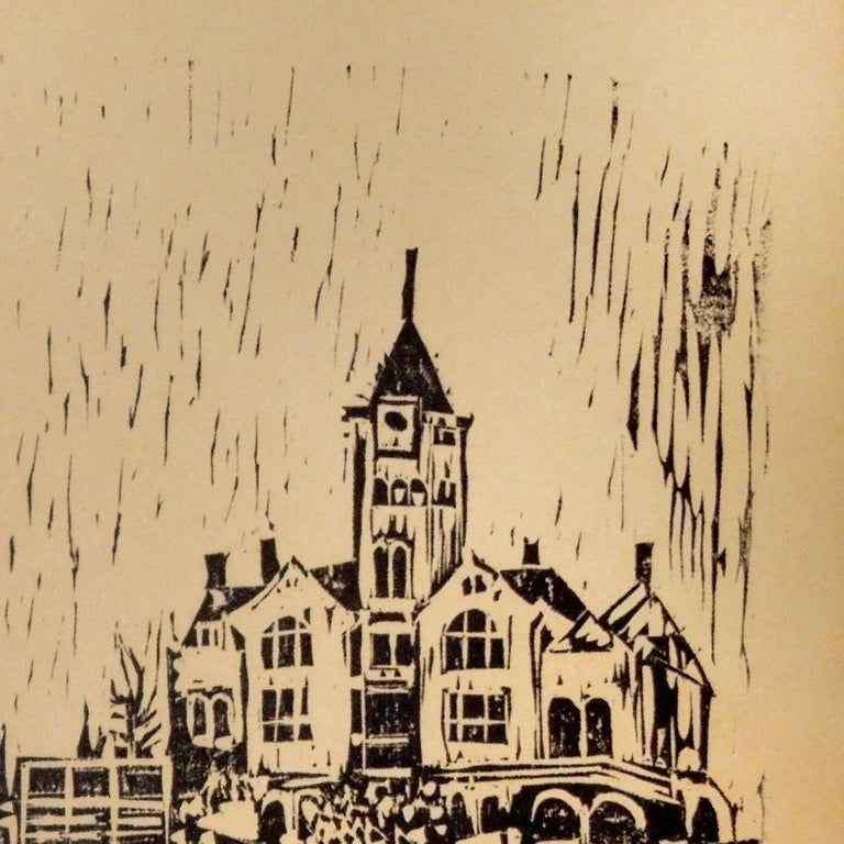 Black and white woodblock print of a town square done in the style of the German Expressionists by Houston artist Lowell Collins. Signed by artist. Woodblock print is not framed.  Artist Biography: Born in San Antonio but raised in Houston from the