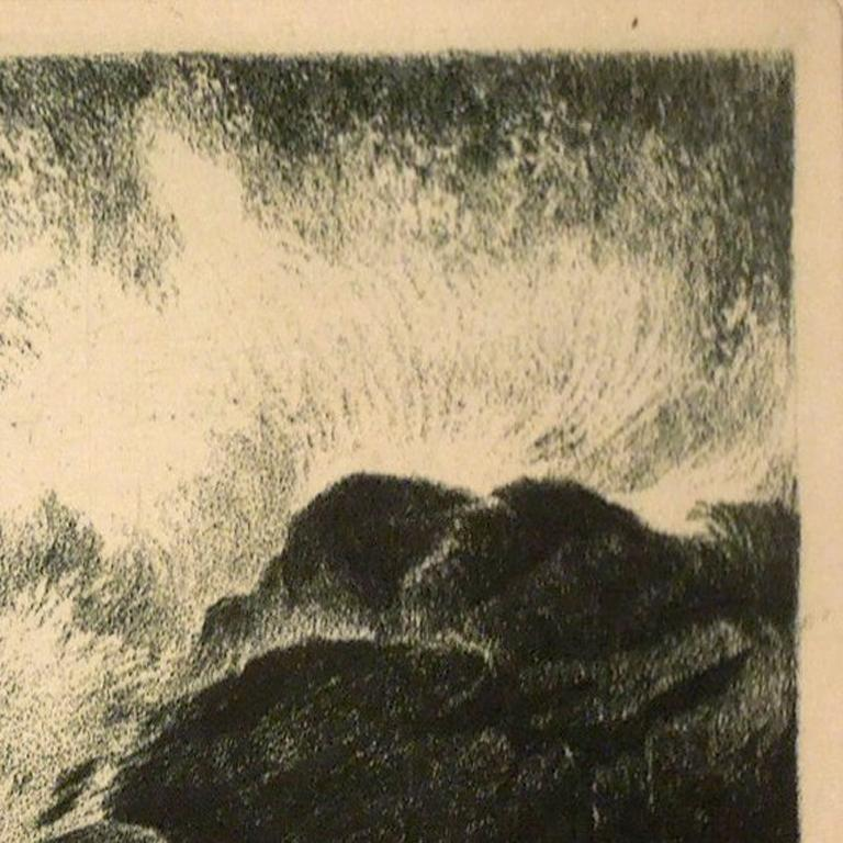 Stunning etching of ocean waves crashing against the rocks done by Fred Graf, titled