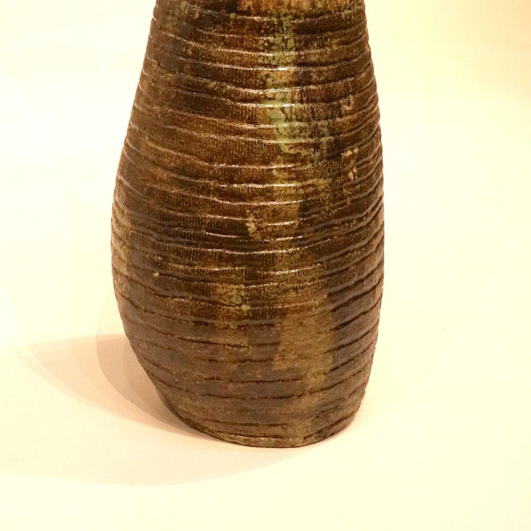 Primitive Abstract Pottery - Large Ceramic Sculpture - Approx. 90 Lbs. Made with white sculpture mix clay with ash glazes and ceramic mineral color glazes.  Hand built by the coil method.