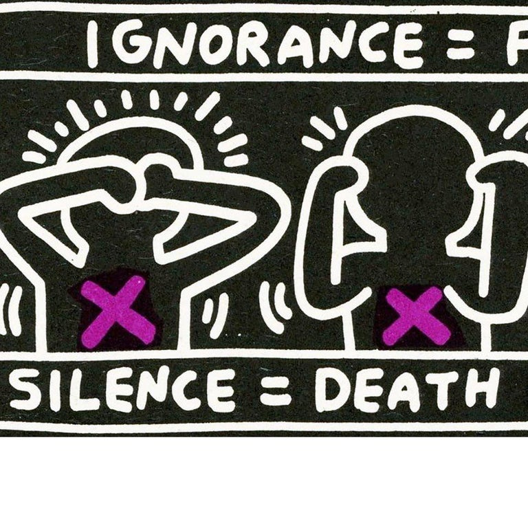Vintage Keith Haring announcement (Keith Haring Silence Equals Death)  For Sale 1