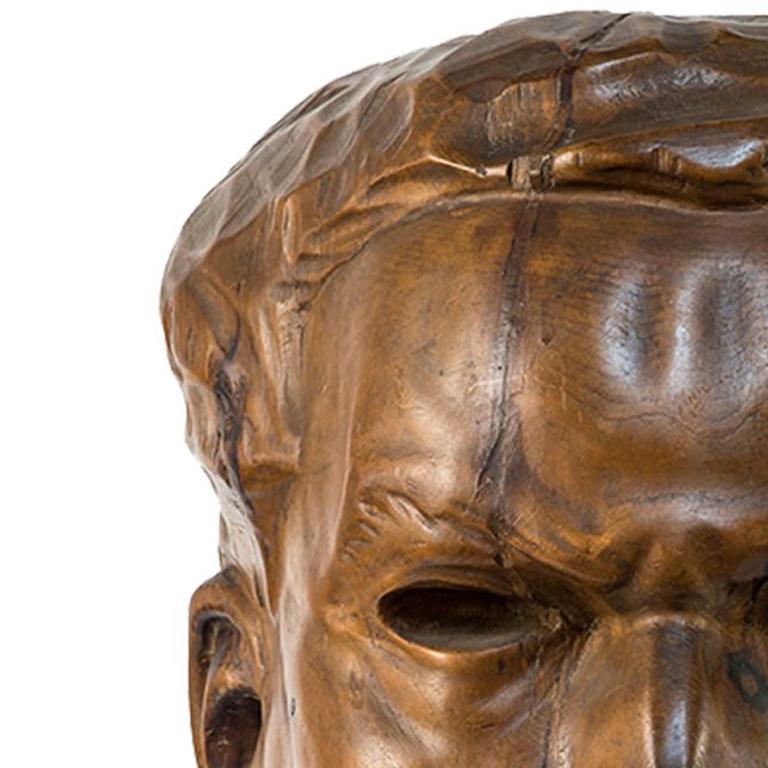Portrait of Italo Balbo - Original Wooden Sculpture by Marco Novati - 1930s For Sale 2