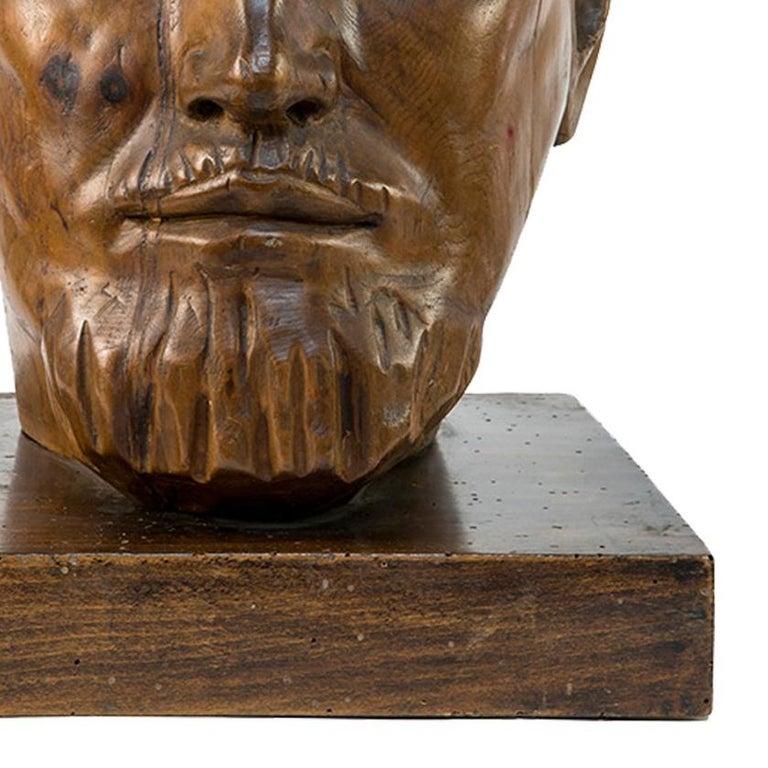 Portrait of Italo Balbo - Original Wooden Sculpture by Marco Novati - 1930s For Sale 3