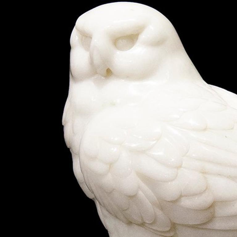 Original Chinese white jade sculpture by Ken Q Li  OWL  For Sale 3