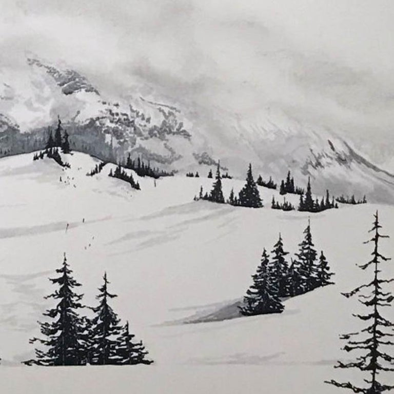 Les Arcs, France, photographic style realist art , original art for sale  - Realist Mixed Media Art by Sam Gare