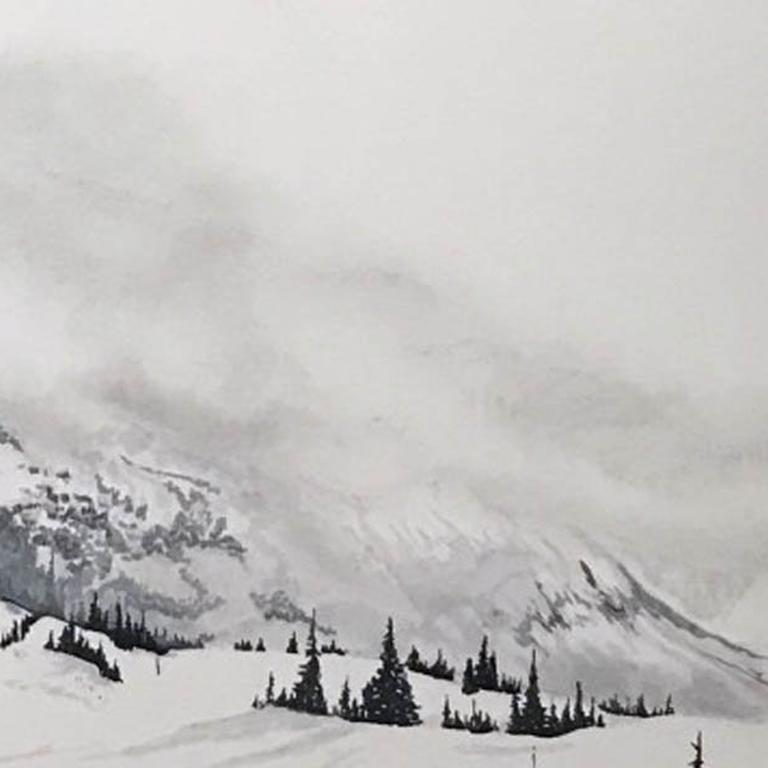 Samantha Gare Les Arcs, France Pen, Marker and Pastel on Mountboard Unframed 51cm x 76cm Landscape, skiing, black and white, mountain, snow, france