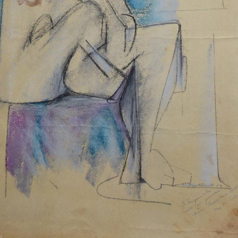 Cubist Nude - Painting by Hans Gustav Burkhardt